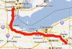 Route from Detroit to Youngstown