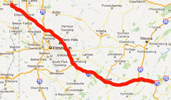 Route from Youngstown to Breezewood