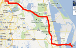 Route from Sanford to Port Canaveral