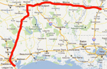 Route from League City to Jackson