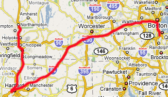 Quincy to Northampton via Newington