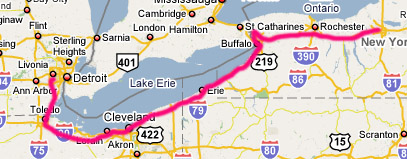 Map, Detroit to Niagara to Syracuse