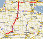 Route, Detroit to Indianapolis