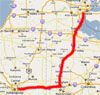 Map of first day, Detroit to Indianapolis